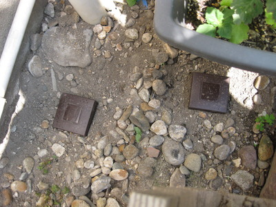 シロアリが出た庭に設置されたシロアリハンター